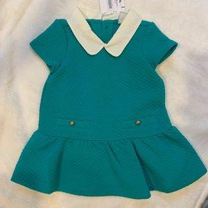 Green Drop-Waist Peter Pan Collar Dress